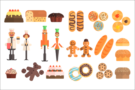 Set of various sweet pastry and bakers in working uniforms. Pies, baguettes, eclairs, muffins, cakes, donuts, gingerbread men, buns, bread, cookies. Flat vector icons isolated on white background Illustration