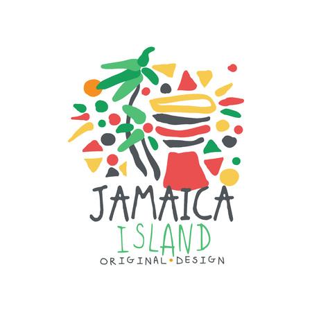 Jamaica island logo template original design, exotic summer holiday badge, label for a travel agency, element for design element for banner, poster, flyer, advertising hand drawn vector Illustration