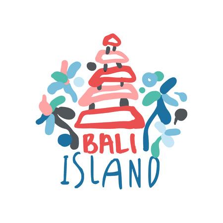 Bali island logo template original design, exotic summer holiday badge, label for a travel agency, element for design element for banner, poster, flyer, advertising, hand drawn vector Illustration
