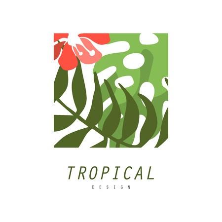 Tropical logo design, square geometric badge with palm leaves and red flower vector Illustration on a white background
