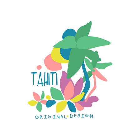 Tahiti island logo template original design, exotic summer holiday badge, label for a travel agency, element for design element for banner, poster, flyer, advertising hand drawn vector Illustration Иллюстрация
