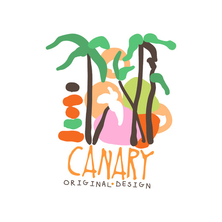 Canary island logo template original design, exotic summer holiday badge, label for a travel agency, element for design element for banner, poster, flyer, advertising hand drawn vector Illustration