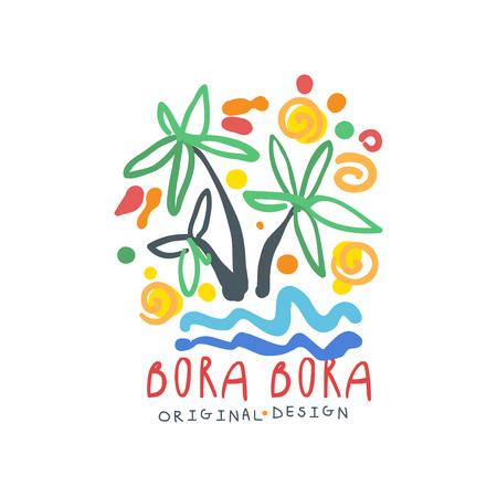Bora Bora island logo template original design, exotic summer holiday badge, label for a travel agency, element for design element for banner, poster, advertising, hand drawn vector Illustration 版權商用圖片 - 100201726