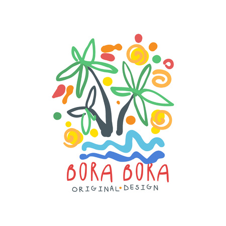 Bora Bora island logo template original design, exotic summer holiday badge, label for a travel agency, element for design element for banner, poster, advertising, hand drawn vector Illustration