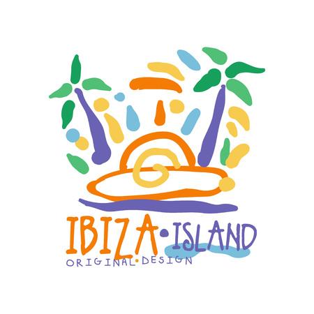 Ibiza island logo template original design, exotic summer holiday badge, label for a travel agency, element for design element for banner, poster, flyer, advertising hand drawn vector Illustration Ilustração