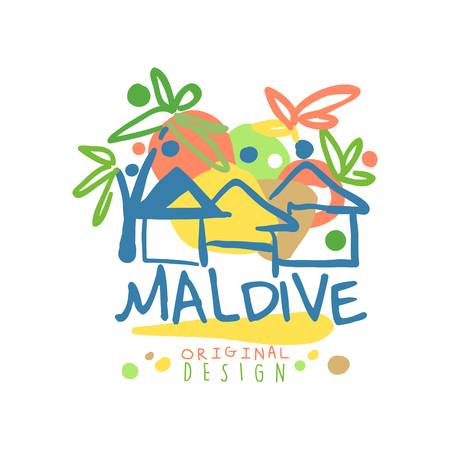 Maldive island logo template original design, exotic summer holiday badge, label for a travel agency, element for design element for banner, poster, flyer, advertising hand drawn vector Illustration
