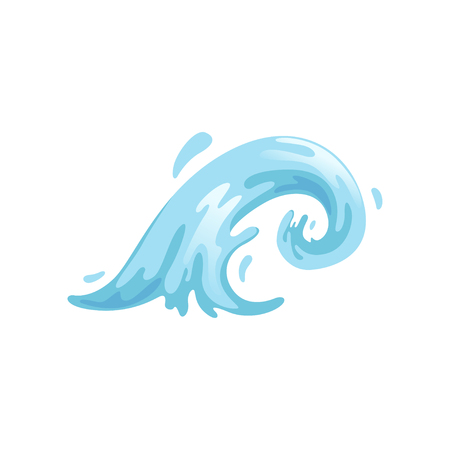 Blue curly water wave vector Illustration on a white background