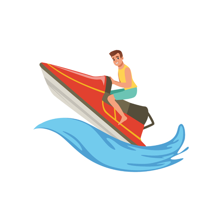 Man on a red water bike jumping over the waves, extreme water sport activity vector Illustration on a white background Ilustração