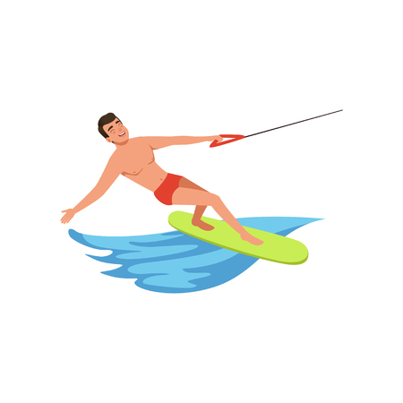 Man riding wakeboard, water skiing, water sport activity vector Illustration on a white background
