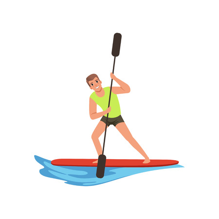 Man with an oar in hands standing on a surfboard, water sport activity vector Illustration on a white background