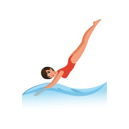Schöne Frau im roten Badeanzug, der in das Wasser, Wassersport-Aktivitätsvektorillustration auf einem weißen Hintergrund eintaucht Vektorgrafik