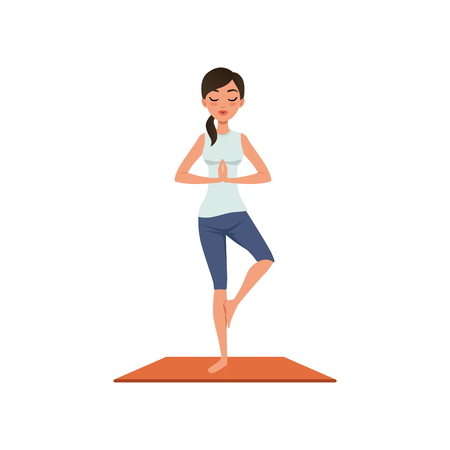 Girl standing in tree pose yoga position, Vriksasana, beautiful woman practicing yoga vector Illustration on a white background