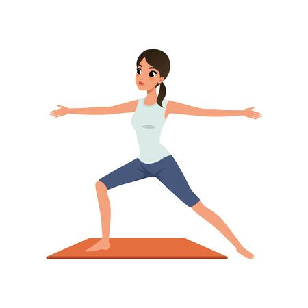 Girl standing in Hero yoga position, Virabhadrasana, beautiful woman practicing yoga vector Illustration on a white background