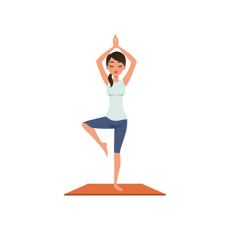 Girl standing in tree pose, Vriksasana II, beautiful woman practicing yoga vector Illustration isolated on a white background.