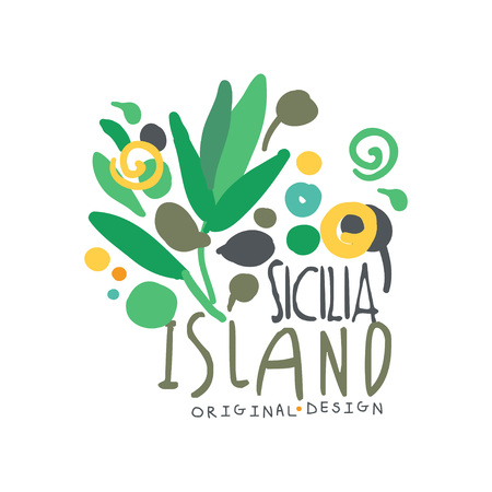 Sicilia island logo template original design, exotic summer holiday badge, label for a travel agency, element for design element for banner, poster, flyer, advertising, hand drawn vector Illustration isolated on a white background.