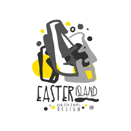 Easter island logo template original design, exotic summer holiday badge, label for a travel agency, element for design element for banner, poster, flyer, advertising, hand drawn vector Illustration isolated on a white background.