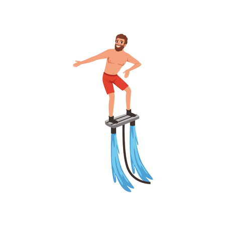 Man flyboarding, extreme water sport activity vector Illustration isolated on a white background. Illustration