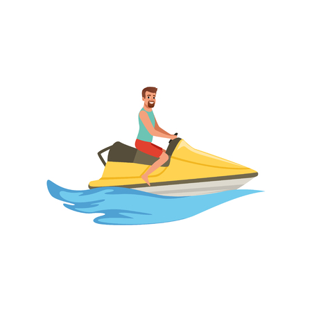 Male jet ski rider, extreme water sport activity vector Illustration isolated on a white background. Illustration