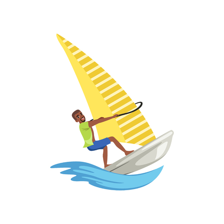 Man on sailing boat, yacht racing, water sport activity vector Illustration isolated on a white background.