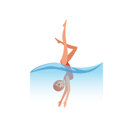 Woman in red swimsuit diving into the water, water sport activity vector Illustration on a white background