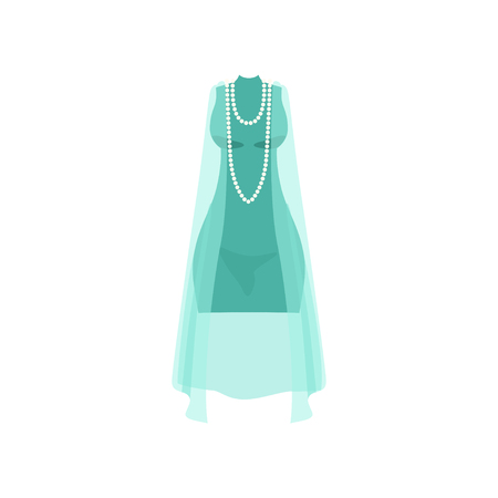 Elegant light blue dress with beads, fashion women clothes vector Illustration isolated on a white background. Illustration