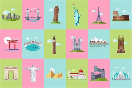 Berühmte Ikonen der architektonischen Wahrzeichen, beliebte historische Wahrzeichen der Reise und Gebäude verschiedener Ländervektorillustrationen