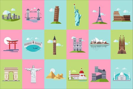 Famous architectural landmarks icons set, popular travel historical landmarks and buildings of different countries vector Illustrations Standard-Bild - 100135904