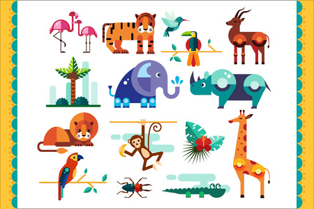 Jungle animals, birds and plants set, summer tropical elements, flamingo, tiger, gazelle, elephant, rhinoceros, monkey, lion, parrot crocodile giraffe vector Illustrations isolated on a white background
