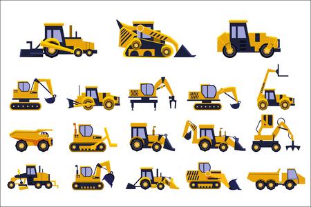 Diversi tipi di set di camion di costruzione, attrezzature pesanti, veicoli da costruzione illustrazioni di vettore isolato su sfondo bianco.