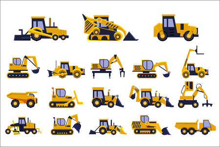 Different types of construction trucks set, heavy equipment, construction vehicles vector Illustrations isolated on a white background.
