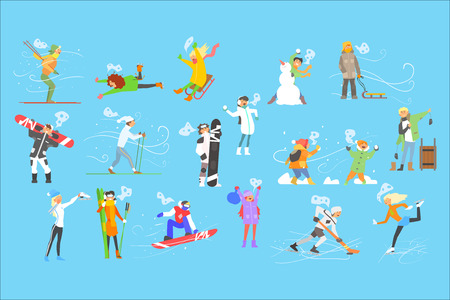 People engaged in winter sports, adult and children at winter holidays vector Illustration, web design