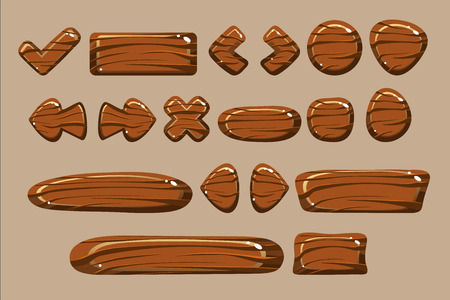 Wooden buttons of different shapes set, details for computers games, apps interface vector Illustration vector Illustration, web design