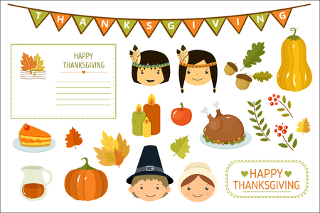 Happy Thanksgiving card, elements of Thanksgiving celebration, American Indian kids, pumpkin, autumn leaves, turkey, candles, party flags vector Illustration, web design
