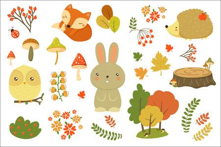 Insieme di elementi della foresta di autunno, animali della foresta, foglie, fiori, funghi fumetto vettoriale illustrazioni isolato su sfondo bianco.