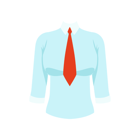 White shirt with red tie, womens business clothing vector Illustration isolated on a white background.