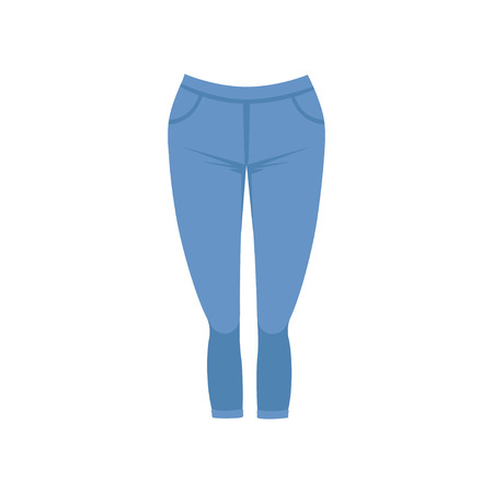 Female blue jeans, womens casual clothing vector Illustration isolated on a white background.