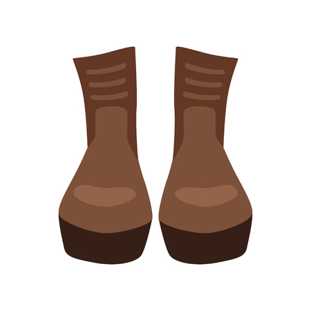 Pair of brown leather boots vector Illustration isolated on a white background.