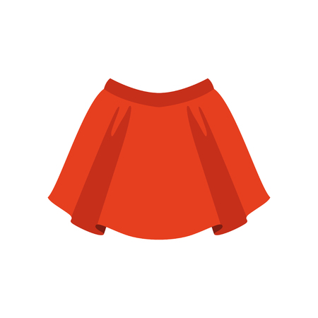 Red skirt, fashion women clothes vector Illustration isolated on a white background.