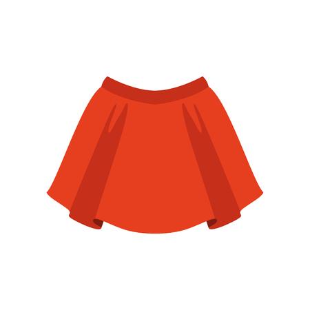 Rode rok, mode vrouwen kleding vector illustratie geïsoleerd op een witte achtergrond.
