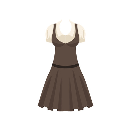 Gray dress with a white shirt, fashion women clothes vector Illustration isolated on a white background. Banque d'images - 100129889