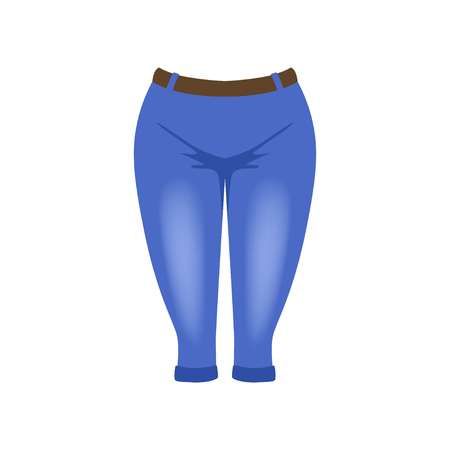 Denim breeches, knickerbockers vector Illustration isolated on a white background.