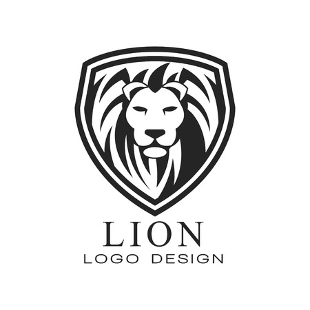 Lion logo design, classic vintage style element for poster, banner, embem, badge, tattoo, t shirt print vector Illustration isolated on a white background. Illustration