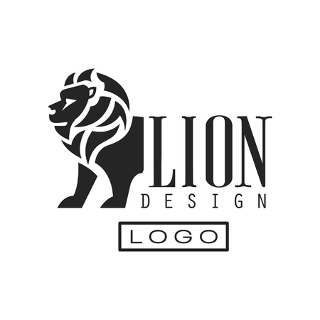 Lion logo design, monochrome element for poster, banner, embem, badge, tattoo, t shirt print vector Illustration isolated on a white background.