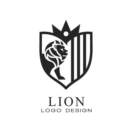 Lion logo design, element for poster, banner, embem, badge classic vintage style vector Illustration isolated on a white background. Ilustração