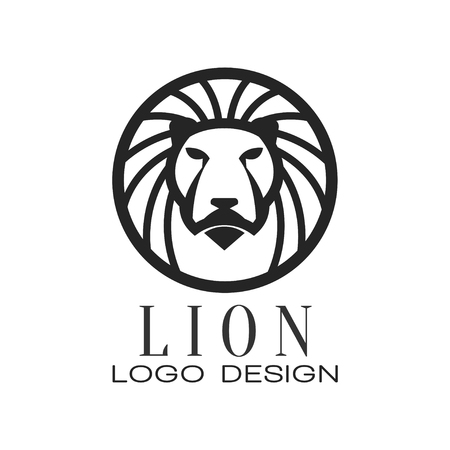 Lion logo, classic vintage style design element, round badge with heraldic animal, monochrome vector Illustration isolated on a white background.