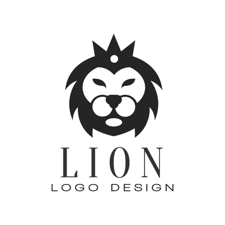 Lion logo design, element with wild animal for poster, banner, embem, badge, tattoo, t shirt print, vector Illustration isolated on a white background. Ilustração