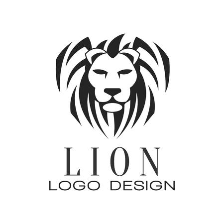 Logotipo de León, elemento de diseño para cartel, banner, embem, insignia, tatuaje, vector de impresión de camiseta ilustración aislada sobre fondo blanco. Logos