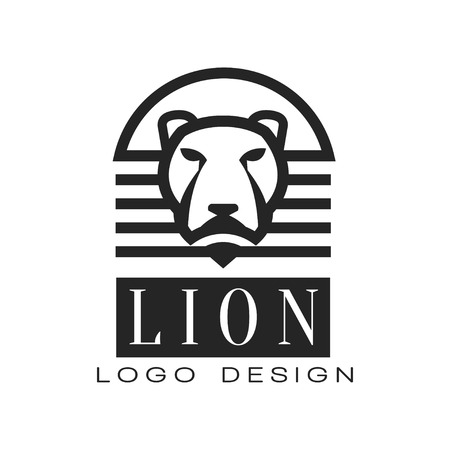 Lion logo, design element for poster, banner, embem, badge, t shirt print, classic vintage style vector Illustration isolated on a white background.