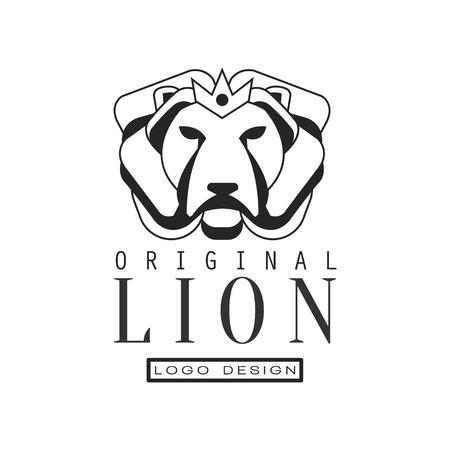 Lion original logo design, emblem for poster, banner, embem, badge, tattoo, t shirt print, classic vintage style vector Illustration isolated on a white background.