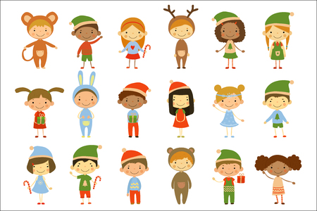 Cute little kids wearing Christmas costumes set vector Illustrations isolated on a white background. Vectores